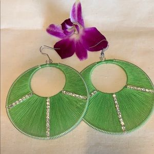 Jewelry - NEW large green string silver and CZ earrings